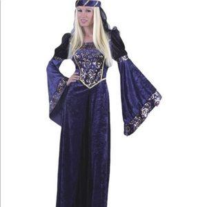 Charades Lady Renaissance Navy Black Adult Costume